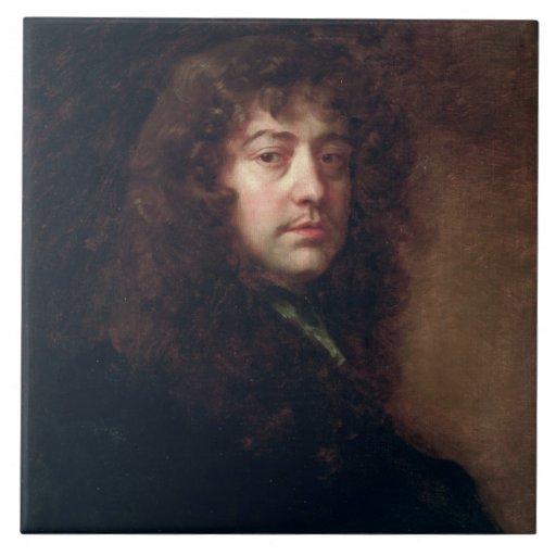 Selbstporträt, 1665-70 (Öl auf Leinwand) Fliese