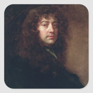 Selbstporträt, 1665-70 (Öl auf Leinwand) Quadratischer Aufkleber