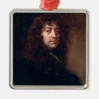 Selbstporträt, 1665-70 (Öl auf Leinwand) Quadratisches Silberfarbenes Ornament