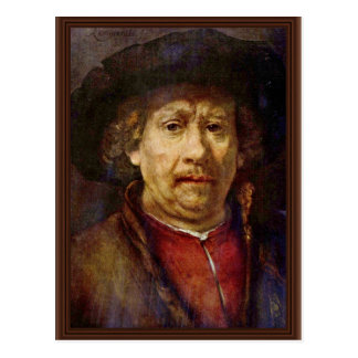 Selbstporträt durch Rembrandt Harmensz. Van Rijn Postkarte