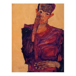 Selbstporträt Egon Schiele- mit der Hand zur Backe Postkarte