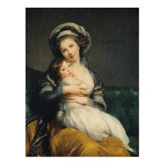 Selbstporträt in einem Turban mit ihrem Kind, 1786 Postkarten
