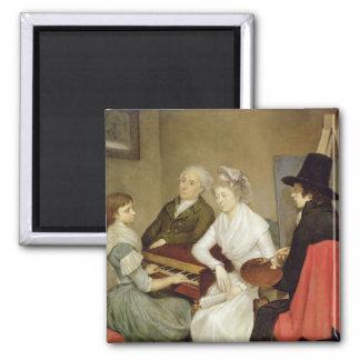Selbstporträt mit Familie Quadratischer Magnet