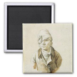 Selbstporträt mit Kappen-und Augen-Flecken Quadratischer Magnet
