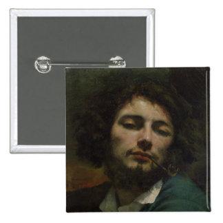 Selbstporträt oder, der Mann mit einem Rohr, c.184 Quadratischer Button 5,1 Cm