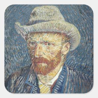 Selbstporträt Vincent van Goghs   mit geglaubtem Quadratischer Aufkleber