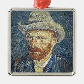 Selbstporträt Vincent van Goghs | mit geglaubtem Quadratisches Silberfarbenes Ornament