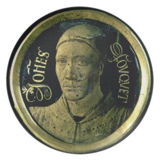 Selbstporträtmedaillon, c.1450 (Email auf Kupfer) Flacher Teller