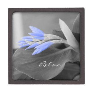 Selektive Farbe der personalisierten hellblauen Kiste