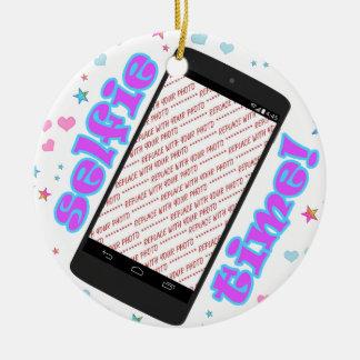 Selfie Zeit! Telefon-Form-Foto-Rahmen Rundes Keramik Ornament