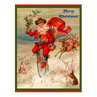 Seltener Weihnachtsmann auf dem Velocipede gejagt Postkarte