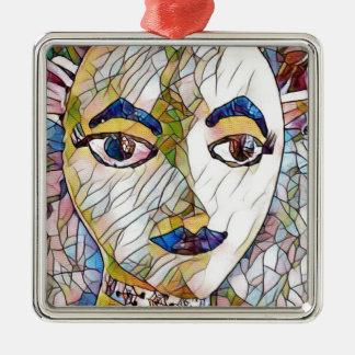 Seltenes künstlerisches Mannequin-Gesicht Silbernes Ornament
