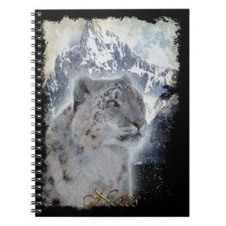 Seltenes Schnee-Leopard Tier-Anhänger Notizbuch Notizblock
