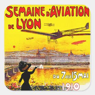 Semaine d'Aviation De Lyon Quadratischer Aufkleber