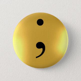 Semikolon - Goldmetall Runder Button 5,7 Cm