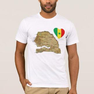 Senegal-Flaggen-Herz und Karten-T - Shirt