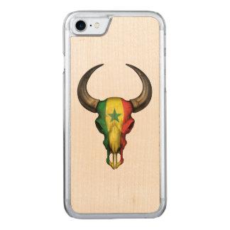 Senegal-Flaggen-Stier-Schädel Carved iPhone 8/7 Hülle