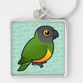 Senegal-Papagei Silberfarbener Quadratischer Schlüsselanhänger