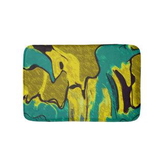 Senf-gelbes aquamarines abstraktes badematten