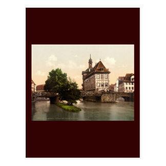 Senken Sie Brücke und Rathaus Bamberg-Bayern Postkarte