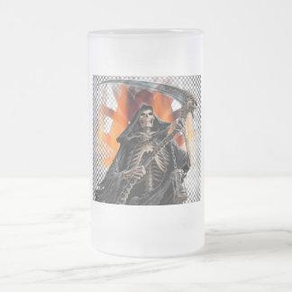 Sensenmann - mattierter GlasStein Mattglas Bierglas