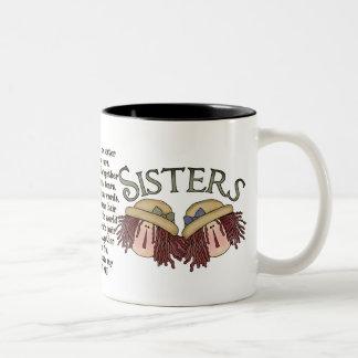 Sentimental Kaffee-Tasse des Schwester-Gedichtes Zweifarbige Tasse