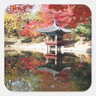 Seoul-Herbst-Japaner-Garten Quadrataufkleber