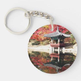 Seoul-Herbst-Japaner-Garten Beidseitiger Runder Acryl Schlüsselanhänger