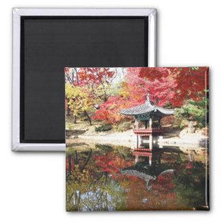 Seoul-Herbst-Japaner-Garten Quadratischer Magnet