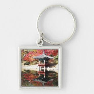 Seoul-Herbst-Japaner-Garten Silberfarbener Quadratischer Schlüsselanhänger