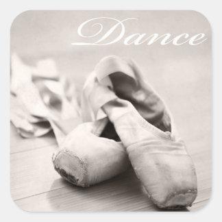 Sepia-Ballett-Pantoffel Pointe Quadratischer Aufkleber