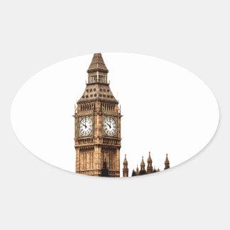 Sepia-Big Ben-Turm Ovaler Aufkleber