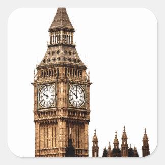 Sepia-Big Ben-Turm Quadratischer Aufkleber