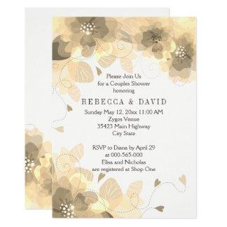 Sepia-BlumenblumenHochzeit im Herbsts-Paardusche 12,7 X 17,8 Cm Einladungskarte