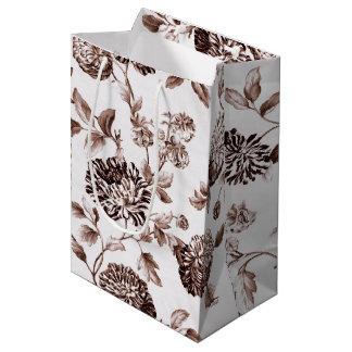 Sepia Brown Vintages BlumenToile No.2 keine Ernte Mittlere Geschenktüte