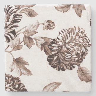 Sepia Brown Vintages BlumenToile No.2 Steinuntersetzer