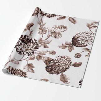 Sepia Brown weißes Vintages botanisches Geschenkpapier