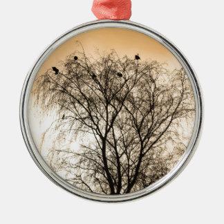 Sepia, der Vögel Roosting ist Silbernes Ornament