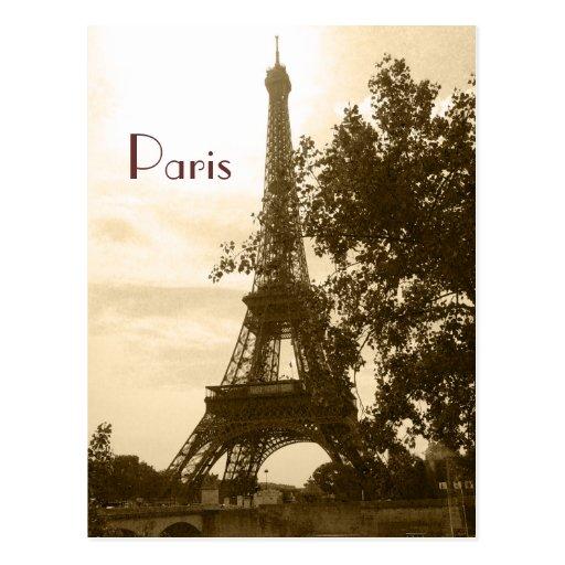 Sepia-Eiffelturm--Paris Postkarte