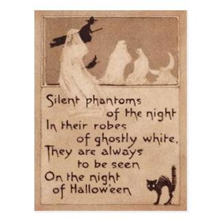 Sepia-Geist-Hexe-schwarze Katzen-Halbmond-Mond Postkarte