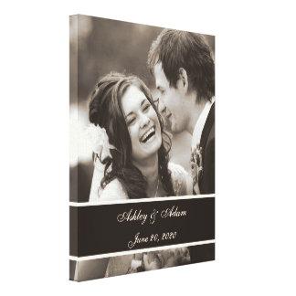 Sepia-Hochzeits-Foto personalisiert Leinwand Druck