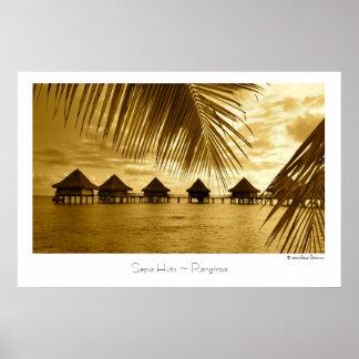Sepia-Hütten ~ Rangiroa ~ Reise-Plakat Poster