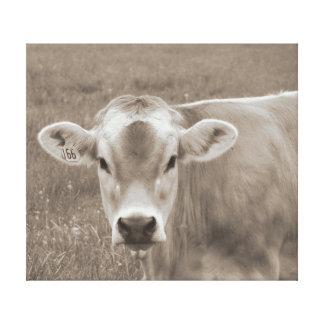 Sepia-Jersey-Kuh-Porträt Leinwanddruck
