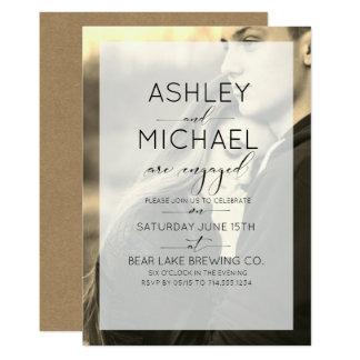 Sepia Kraft Typography Photo Engagement Invitation Karte