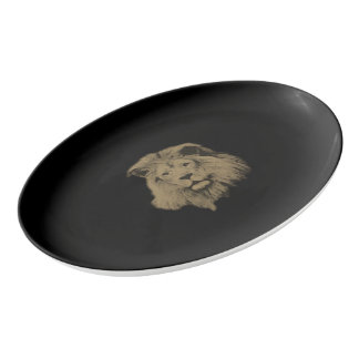 Sepia-Löwe Porzellan Servierplatte