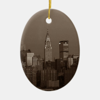 Sepia-New- York CitySkyline Keramik Ornament