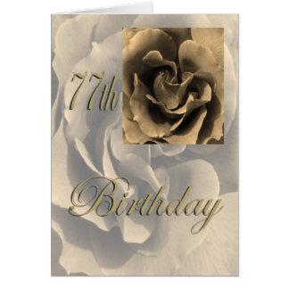 Sepia-Rosen-glücklicher 77. Geburtstag Karte
