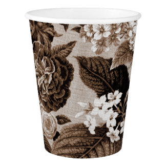Sepia-Ton Brown Foral Toile No.1 Pappbecher