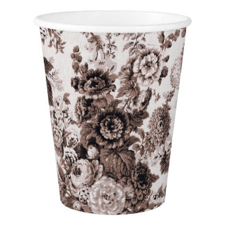Sepia-Ton Brown Foral Toile No.3 Pappbecher
