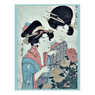 September durch Kitagawa, Utamaro Ukiyoe Postkarte